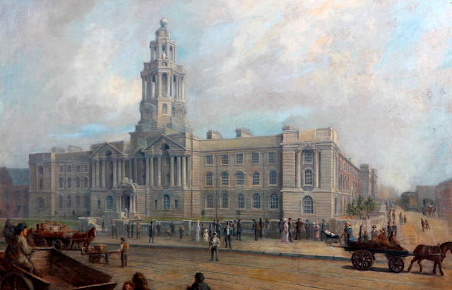 British School, (circa 1900) Stockport town hall with figures and horses