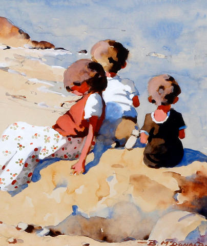 Bernard McDonald (British, born 1944) Children playing on the shore, together with two others similar, (3)