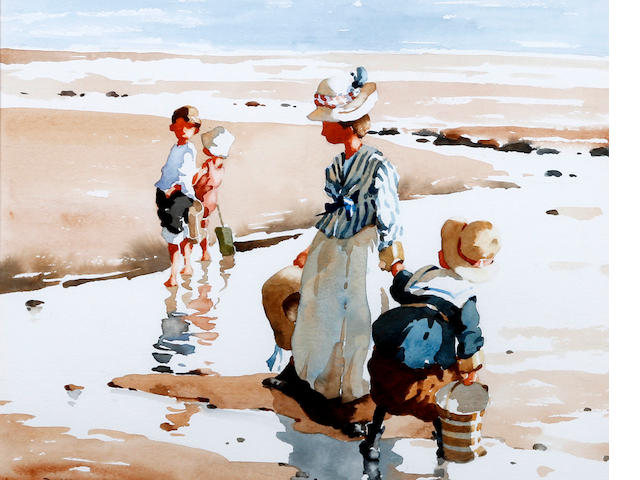 Bernard McDonald (British, born 1944) Mother and children on the shore