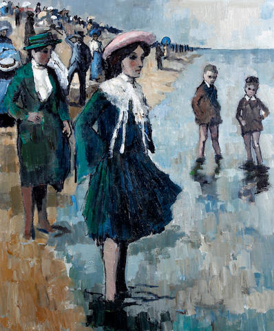 Tom Durkin (British, 1928-1990) Figures paddling on a beach; children and figures on a promenade and couple walking