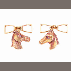 Of equestrian interest: a pair of 18ct gold & ruby cufflinks (2)