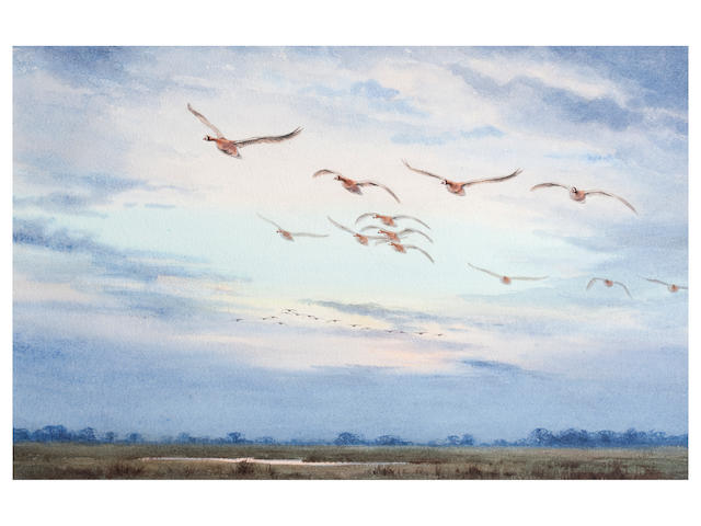 John Cyril Harrison (British, 1898-1985) Whitefronted Geese, Evening