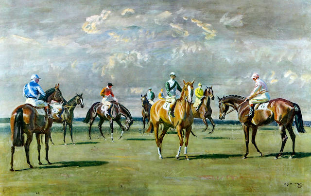 Sir Alfred James Munnings P.R.A., R.W.S. (British, 1878-1959) 'Before the Start, Newmarket'