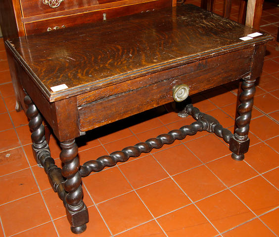 An Oak side table 18th Century and later