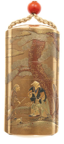 A gold lacquer five-case inro By the Kajikawa Family, 19th century