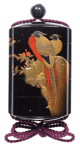 A roiro lacquer four-case inro 19th century