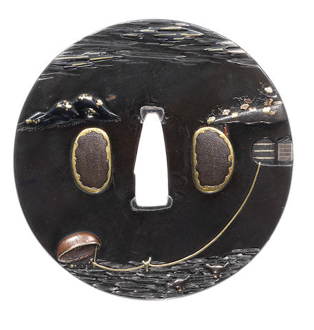 A Nara School shakudo tsuba Attributed to Toshinaga, late 18th century