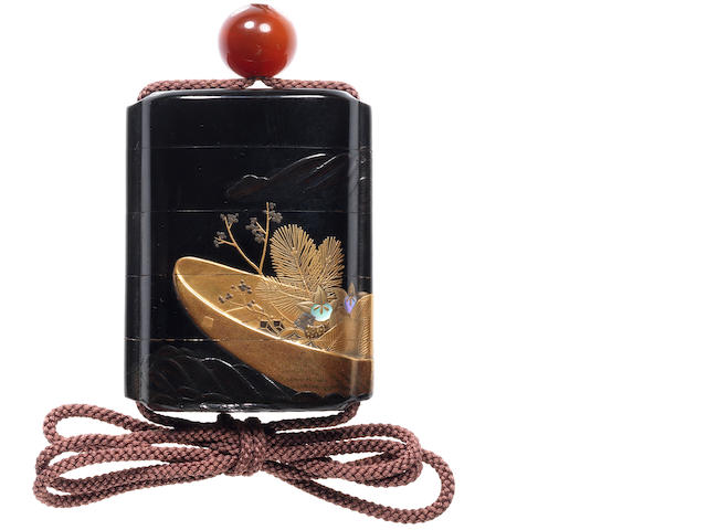 A roiro lacquer small four-case inro By Koma Kansai, 19th century