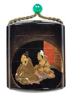 A roiro lacquer four-case broad inro By the Kajikawa Family, 19th century
