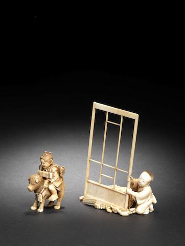 Two ivory small okimono One by Shizuyasu and one by Ono Komin, Meiji Period