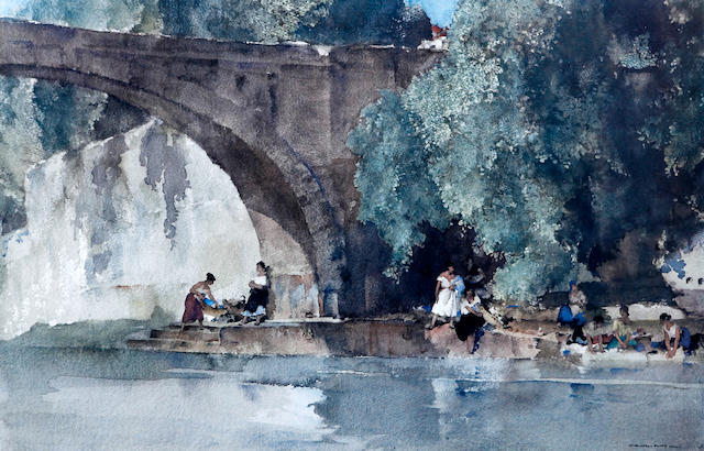 Sir William Russell Flint R.A., P.R.W.S. (British, 1880-1969) 'The Bridge, Nerac'