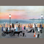Helen Bradley (British, 1900-1979) 'Evening on the Promenade'