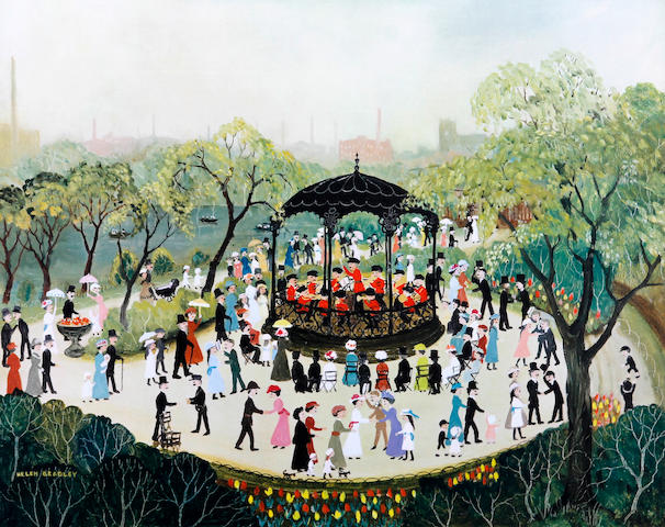 Helen Bradley (British, 1900-1979) 'Sunday Afternoon in Alexandra Park'