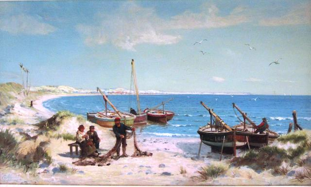Alexander Young (British, 1865-1923) Mending the nets