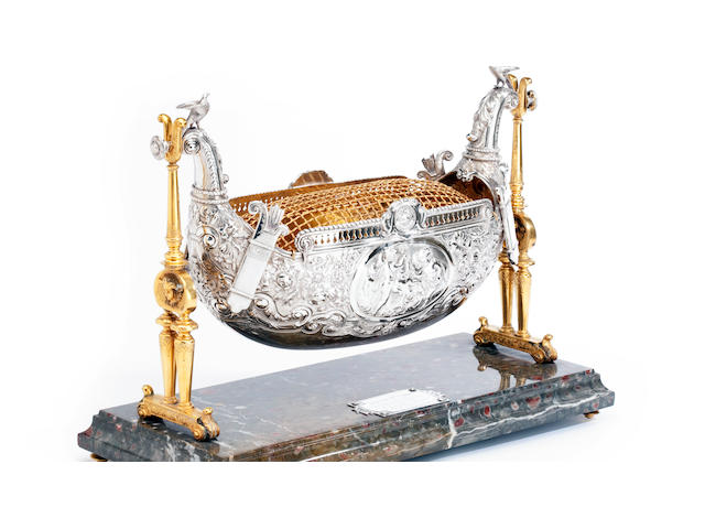 A Victorian Scottish silver presentation cradle with maker's mark of JR, probably for J.Reid, Glasgow 1898, retailed by Douglas & Son of Greenock