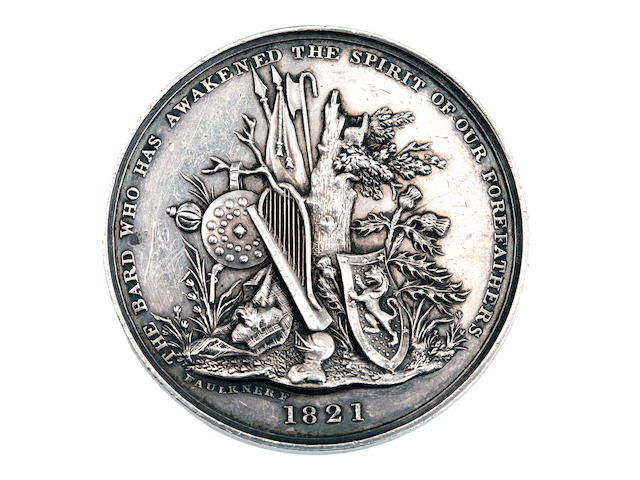 A silver Sir Walter Scott medallion Dated 1821