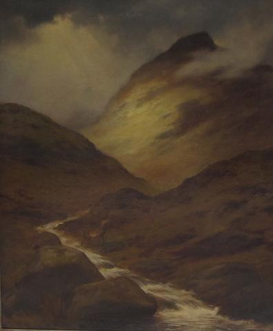 J Cross (19th century) Stag by a mountain stream