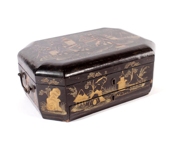 A Chinese lacquered work box