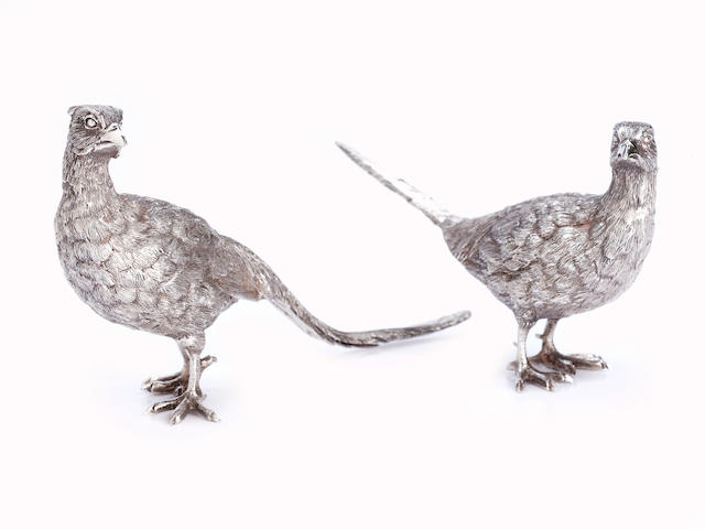 A pair of silver pheasants by BSE Products, London 1976