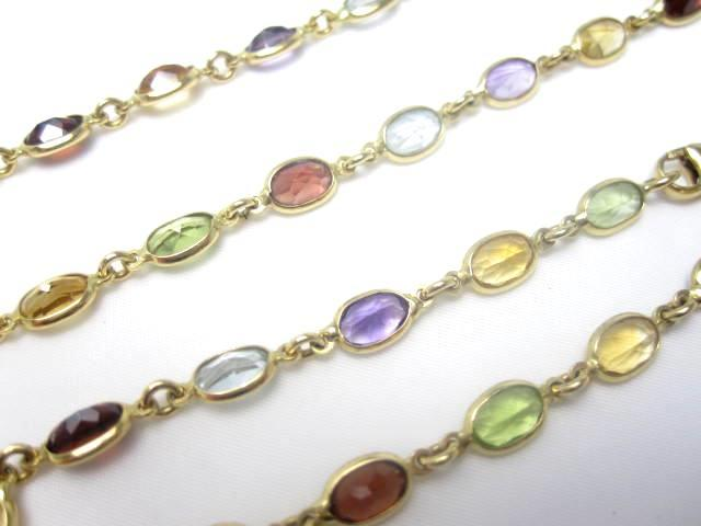 A multi gem necklace and bracelet