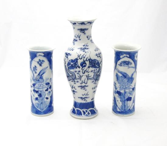Three blue and white vases Bearing Kangxi four character marks but circa 1900