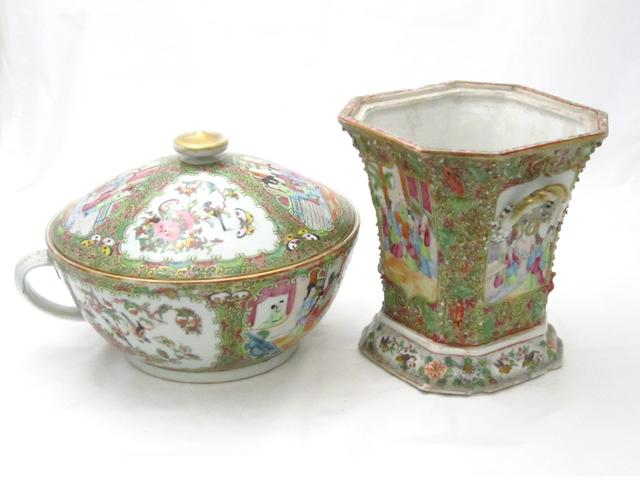A large Canton export famille rose covered vessel and a jardinière 19th century
