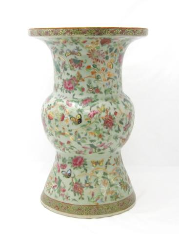 A large Canton famille rose vase, gu Late Qing