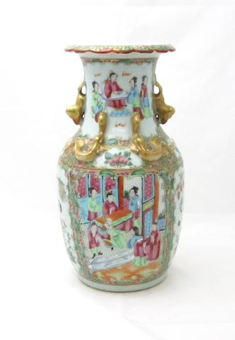 A Canton export famille rose vase Late Qing