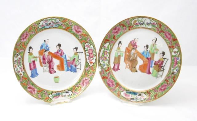 Two Canton export famille rose shaped comports and two plates Mid 19th century
