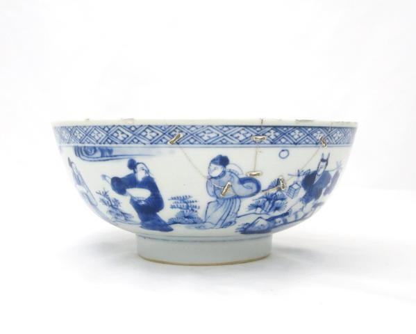A Kangxi blue and white bowl Bearing ingot, brush and ruyi sceptre mark