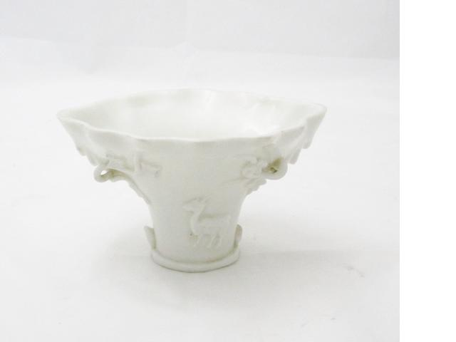 A blanc de chine libation cup 17th/18th century