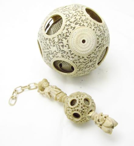 An ivory concentric ball and chain 19th century