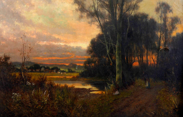 Frank Hider (British, circa 1861-1933) Tranquil rural landscape with maid by a pool, together with another, with figure carrying firewood on a wooded path at dusk, a pair