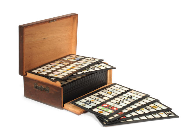 A collection of microscope slides in oak travelling case,