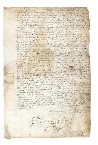 "ELIZABETH I, MARY QUEEN OF SCOTS and THE DUKE OF NORFOLK. Elizabethan Privy Council Letter signed by the Earl of Leicester (""R. Leycester""), Sir William Cecil (""W Cecill"") and other Councillors, 1659"