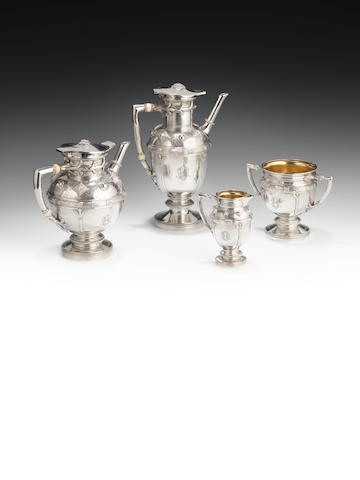 A Victorian silver four-piece tea and coffee service by Elkington & Co Ltd, London 1890  (4)