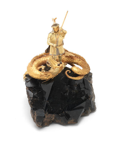 WILLIAM TOLLIDAY: A mixed precious metal and gem set model of George & The Dragon apparently unsigned, probably made for Garrards
