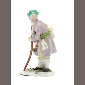 A Meissen 'Cris de St. Petersburg' figure of a Russian peasant, circa 1750