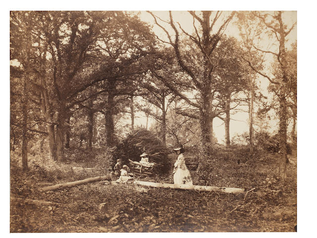 PHOTOGRAPHY. WHITE (HENRY) A woodland scene featuring a woman and three children, [1856]