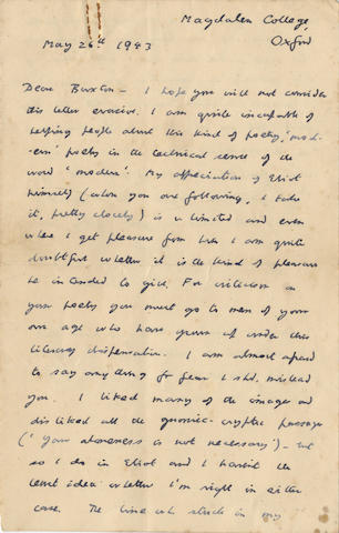 "LEWIS (C.S.) Autograph letter signed (""C.S. Lewis""), to Rufus Buxton, giving him what advice he can on his poetry, 1943"