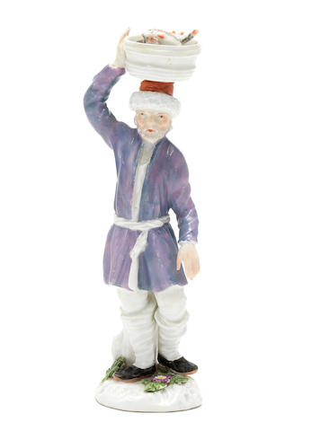 A Meissen 'Cris de St. Petersburg' figure of a Russian fish vendor, circa 1755,