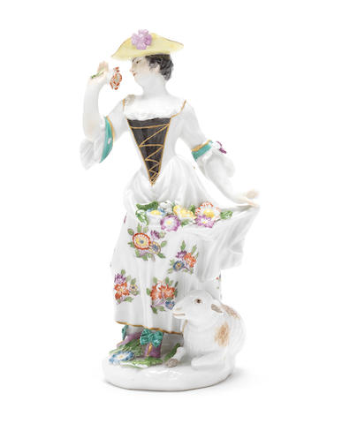 A Meissen figure of a shepherdess, circa 1750