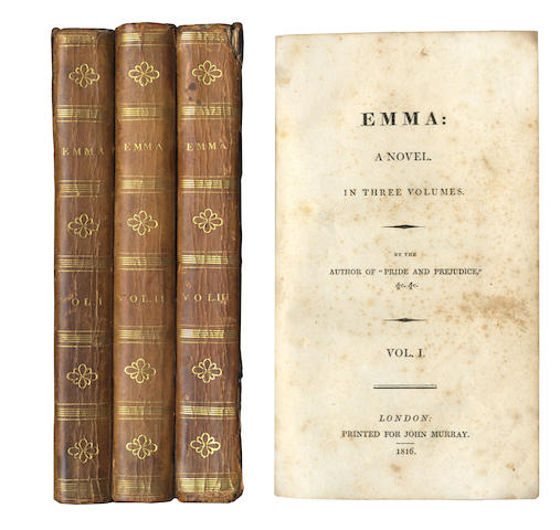 AUSTEN (JANE) Emma, 3 vol., FIRST EDITION, 1816