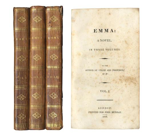 AUSTEN (JANE) Emma, 3 vol., FIRST EDITION, 1816