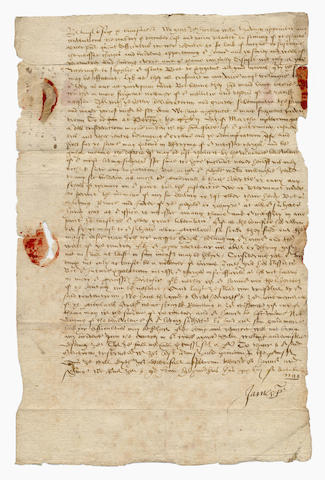 "JAMES I. Letter signed as James VI of Scotland (""James R"") to George Keith, fourth Earl Marischal, discussing means whereby the King hopes to raise further funds, 1599"