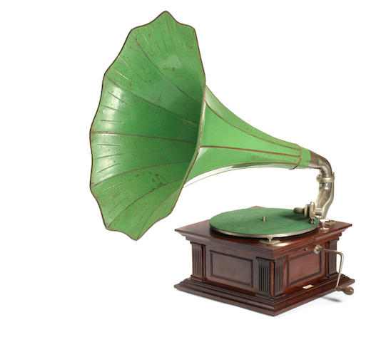 A Monarch Senior horn gramophone, by The Gramophone and Typewriter Limited,  1907-08, mahogany version,