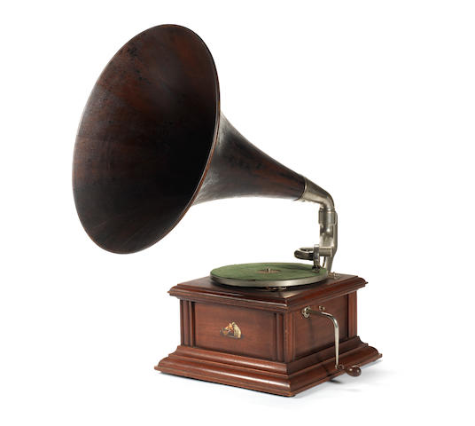 An HMV model 2 horn gramophone, probably circa 1916, mahogany version,