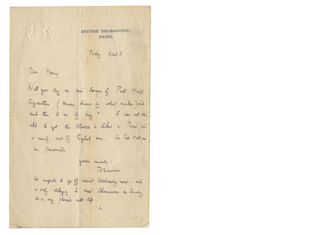 A letter from T E Lawrence