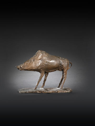 Dame Elisabeth Frink R.A. (British, 1930-1993) Boar 21.5 cm. (8 1/2 in.) long
