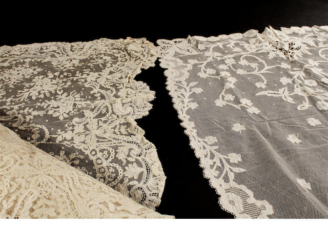 A 19th century Brussels bobbin applique square shawl/veil